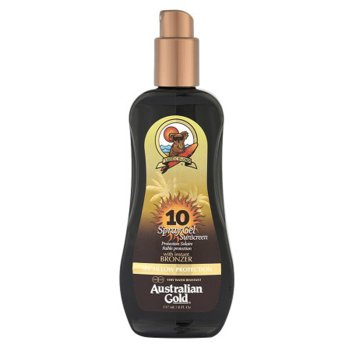 AUSTRALIAN GOLD SPF 10 SPRAY GEL SUNSCREEN BRONZER 237 ml / 7.00 Fl.Oz