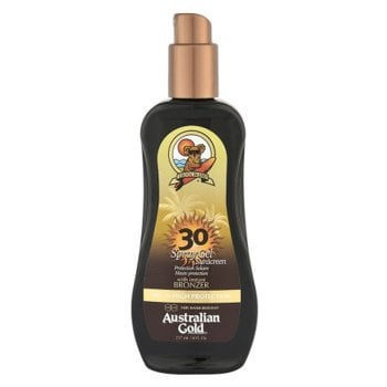 AUSTRALIAN GOLD SPF 30 SPRAY GEL SUNSCREEN BRONZER 237 ml / 7.00 Fl.Oz