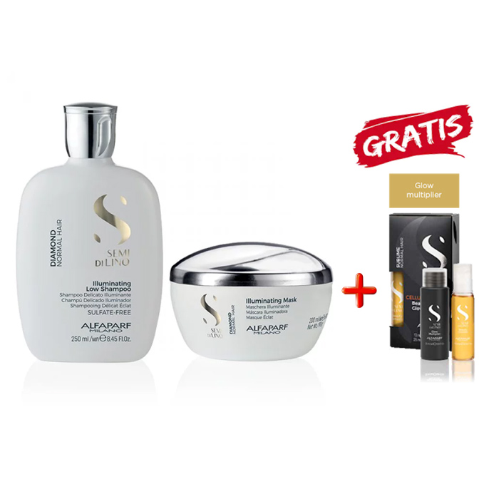 KIT ALFAPARF - SEMI DI LINO DIAMOND SHAMPOO-MASK E CELLULA MADRE GLOW MULTIPLIER KIT OMAGGIO