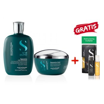 KIT ALFAPARF - SEMI DI LINO RECONSTRUCTION SHAMPOO-MASK E CELLULA MADRE RESTRUCTURING MULTIPLIER KIT FREE