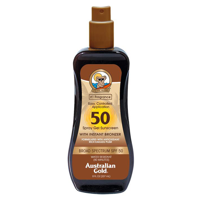 AUSTRALIAN GOLD SPF 50 SPRAY GEL SUNSCREEN BRONZER 237 ml / 7.00 Fl.Oz